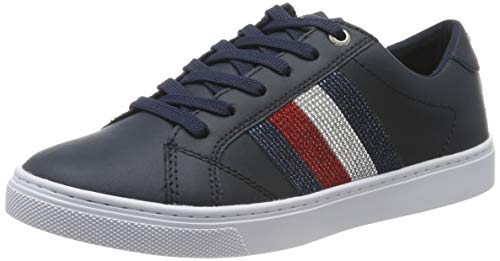 Tommy Hilfiger Crystal Leather Casual Sneaker, Zapatillas para Mujer, Midnight 403, 37 EU