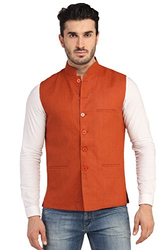 PHEDARUS Men's Linen Half Jacket (PH0010_Burnt Orange_42)