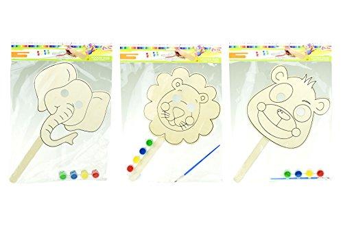 Toi-Toys-Malen Ihr Eigenes Maske aus Holz 4Sortiert Kits de Schulartikel, 47050Z, Mehrfarbig - Eigene Maske Kit