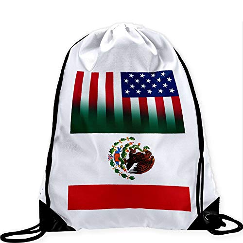 Large HIDFAA Kordelzug Bag with Flag of Mexico Long Lasting Vibrant Image -