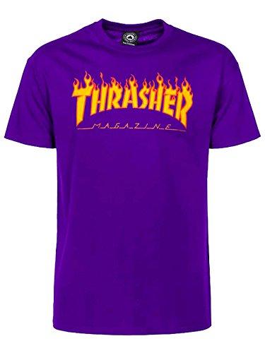 Thrasher t-shirt flame porpora (xl, porpora)