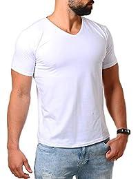 3c9f6ffa785c Young Rich Herren V-Ausschnitt T-Shirt einfarbig körperbetont mit Stretchanteilen  Uni Basic V-