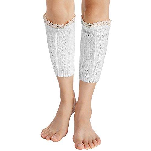 Frauen Knit Lace Trim Boot Cuff Socken Entkernen Leg Warmers für die Stiefel weiß (Knit Boot)