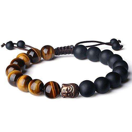 HsingFu© - Herren-Armband mit Buddha-Kopf aus Bronze und Gebetsperlen (10mm) aus schwarzem Onyx und gelbem Tigerauge - Größenverstellbar mit Kordelzug. (Kordelzug Star)