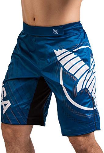 Hayabusa Chikara 4 Kampfshorts für Herren MMA Kampfsport Kickboxen Jiu Jitsu BJJ - Blau - Groß -