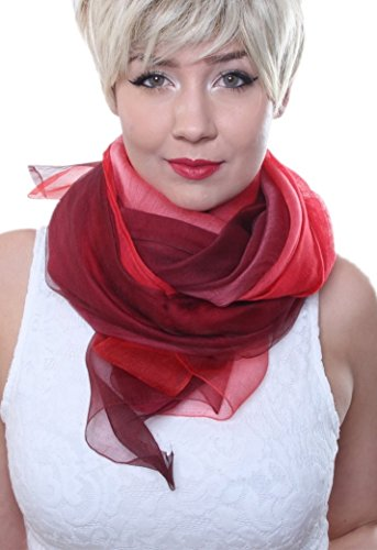 Prettystern - tie-dye di 2 strati sciarpa luce 100% seta e lana con i grandi sguardi - 7 rosso