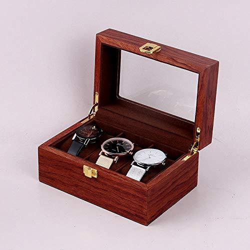 WATCHHE Holz Uhr Aufbewahrungsbox Uhrenaufbewahrung mit Glasdeckel Eleganter Halskette Armband Schmuck Armband Ring Display-Box Geschenk 3 Rote Birnen-Muster -
