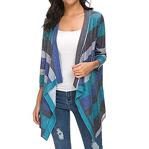 Moonuy Mode féminine coloré rayé Doux Avant Ouvert Poids Pull Casual Manches Longues Baggy Tricot Cardigan Veste