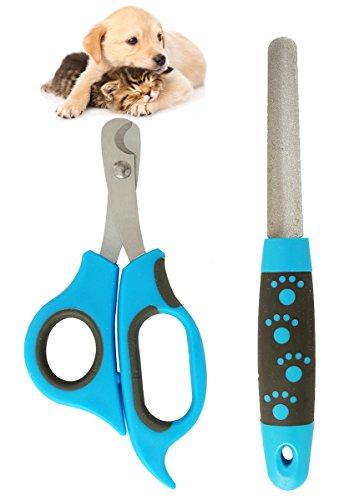 BPS (R) Cortaúñas Tijera Scissors con Lima para Mascotas Perros Gatos Acero Inoxidable y Plástico Producto Profesional para Mascotas 17.5 * 6.5 cm BPS-7013 (Azul)