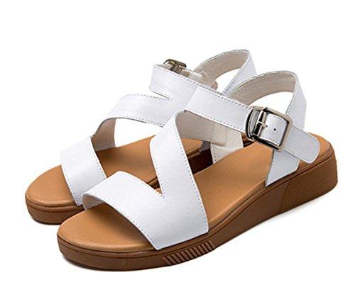 Offene Sandalen Pantoffel Sommer weibliches Keilriemens Weisefrauensandelholze flache Sandalen Frauen White