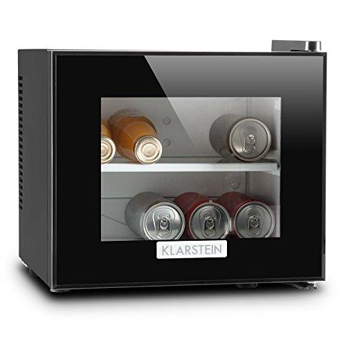 Klarstein Frosty mininevera (10 litros, 65 W, Clase B, Puerta Cristal Doble Aislamiento, silenciosa, compacta, estantes extraíbles, iluminación LED, Ideal Oficina, frigorífico Bebidas)