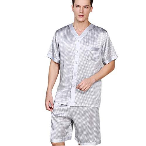 100 Pyjamas aus Reiner Seide für Herren, Kurzes Schlafanzug-Set mit Druckknöpfen, Nachtwäsche Nachtwäsche mit kurzen Ärmeln für den Sommer,Gray,XL