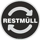 Aufkleber RESTMÜLL Mülltonne Abfall Recycling Wertstoffkennzeichnung 9 cm rund