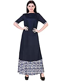 Mind The Gap Rayon Navy Blue Long Dress With Printed Border