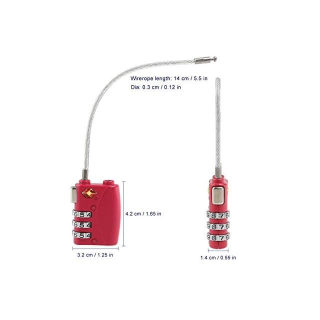 NUOLUX TSA Approuvé par câble de sécurité Voyage bagages Verrouillage 3 chiffres Combinaison Password Lock Cadenas 4 Pack (Noir)