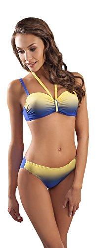 Versatile Costume Bikini a due Pezzi, con fantasia Tie Dye e Spalline Removibili Fiordaliso/Giallo