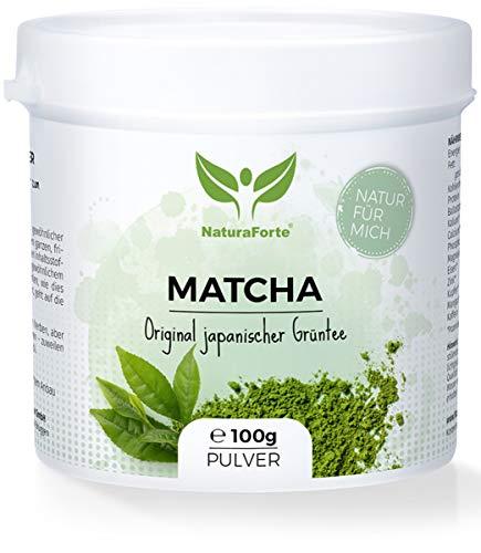 NaturaForte Matcha-Tee Pulver 100 g, Japanisches Grüntee-Pulver aus kontrolliertem Anbau, Handverpackt in Aroma-Schutzdose, Natürlich Grün, Extra fein gemahlen und Vegan
