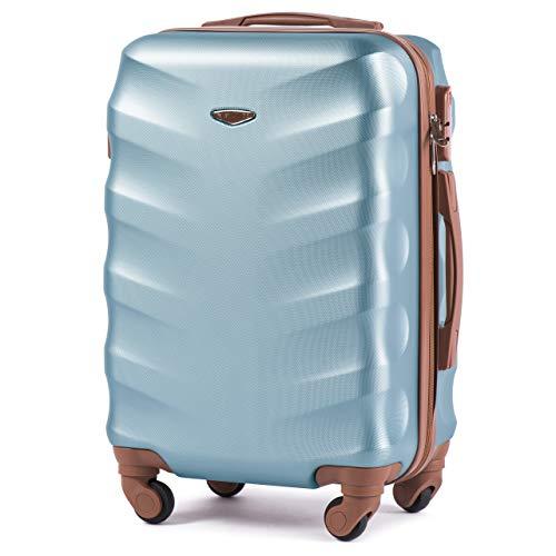 VINCI LUGGAGE Geräumiger Kabinentrolley - Leichter Flugzeugkoffer - Luxuriöser und moderner Koffer mit zweistufigen Teleskopgriff und Kombinationsschloss (Silber Blau, Xs)