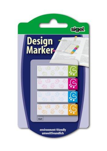 Sigel HN505 Haftmarker Design Modern, 4 Farben, 80 Streifen im Format 45 x 12 mm