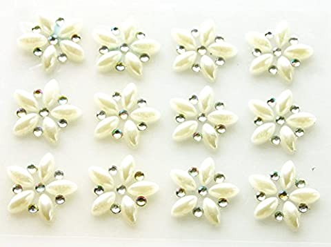 12 x Self Adhesive Flower Pearl and Diamante Embellishment AB Acrylic Rhinestone Clusters Crystals Stick on