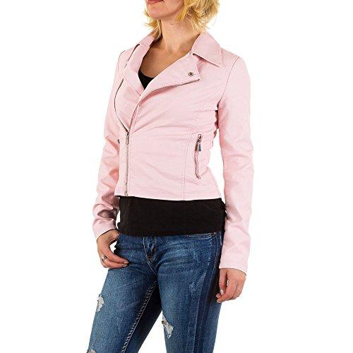 Lederoptik Biker Jacke Für Damen bei Ital-Design Rosa