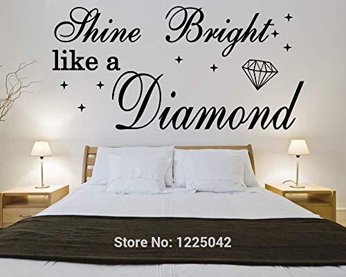 haochenli188 leuchten hell wie EIN Diamant Rihanna Vinyl Wandkunst Zitat Wandaufkleber Home Lyrics 56x105cm (Lyrics Die Rihanna Von)