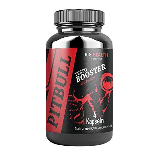 Pitbull - Red Edition - Testo Booster | Das Original | Muskelaufbau Kur | 4 Kapseln | 1 Dose