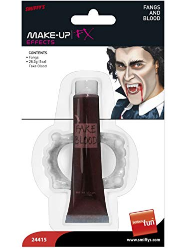 Klassische Vampir Dracula Fangzähne Zähne Reißzähne mit Fake Blut, Kostüm Accessoires Zubehör, perfekt für Halloween Karneval und Fasching, Weiß ()