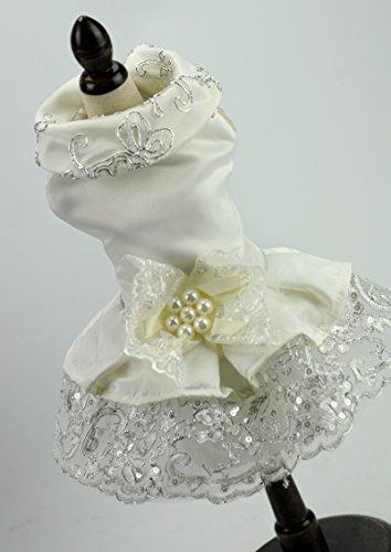 RockFoxOutlet Klassisch Elegante Spitze Weiß Perle Blume Puppy Luxus Schleife Kleid Haustier...