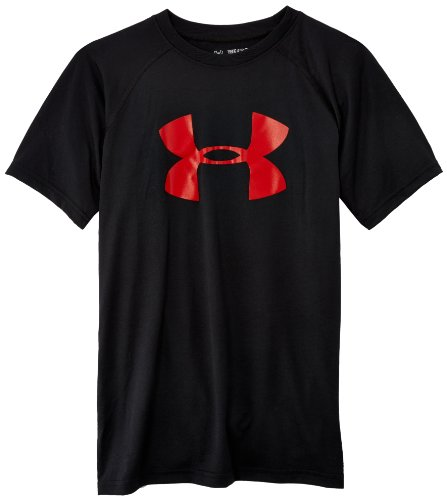 Under Armour Jungen Fitness T-Shirt und Tank UA Tech Big Logo Short Sleeve, Black/Red, 140 Herstellergröße YMD