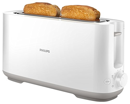 Philips Viva Collection Tostadora, 950 W, Plástico, Blanco/Plateado