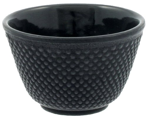 Iwachu Japanese Iron Tea Cup, Black Hobnail -