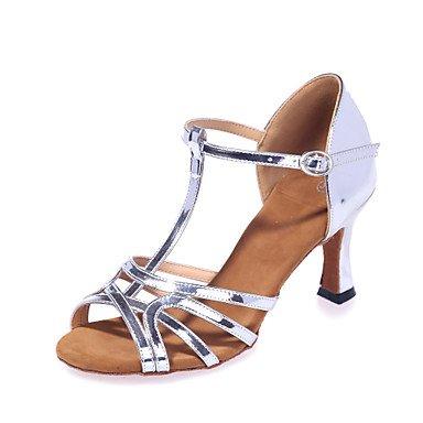 Silence @ Chaussures de danse pour femme en similicuir en similicuir latine Sandales Talon évasé Practise/Professional/intérieur/Performance doré