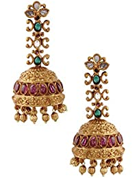 2324a601c Rubans Finely Handcrafted Gold Plated CZ And Ruby Studded Jhumka Earrings