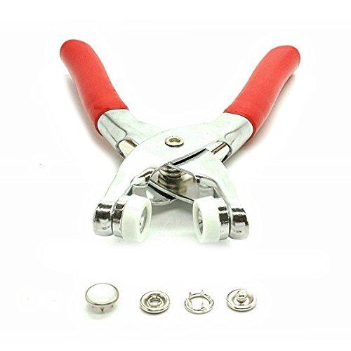 12mm Perlen Perle weiß Schnappt Druckknöpfe + Einstellung Zangen für Bekleidung und Basteln Projekte von Trimming Shop - Rot, Pearl White Snaps and - Pearl Snaps