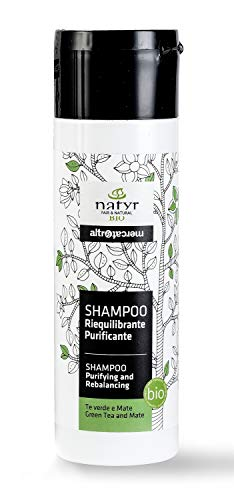 BIO Detox Shampoo mit Grünem Tee und Mate ✔ Sanfte Reinigung für Fettiges und Strähniges Haar ✔ Natyr - Fair Trade Naturkosmetik aus Italien ✔ 200ml -