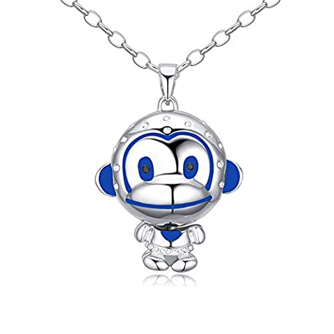 Oudora Paul Frank Monkey Shaped Style Swarovski Crystal Long Sweater Chain Pendant Necklace