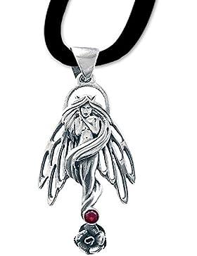 Engelelfe Anhänger Amulett Talisman 925er Silber Schmuck mit Lederhalsband Schmucksäckchen und Karte - Schutz...