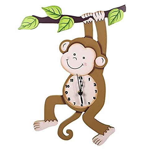 Fantasy Fields - Sunny Safari Animals themed Kids Wall Clock Best for Nursery Room Decor | Hand Painted Details | Child Friendly Water-based Paint