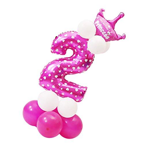 Prettyia Zahlenballon Set Ballon Zahl 0-9 in Rosa - Nummer Ballon, Kronen Ballon, Latexballon, Lange Ballon Baby Taufe Kindergeburtstag - Nummer 2
