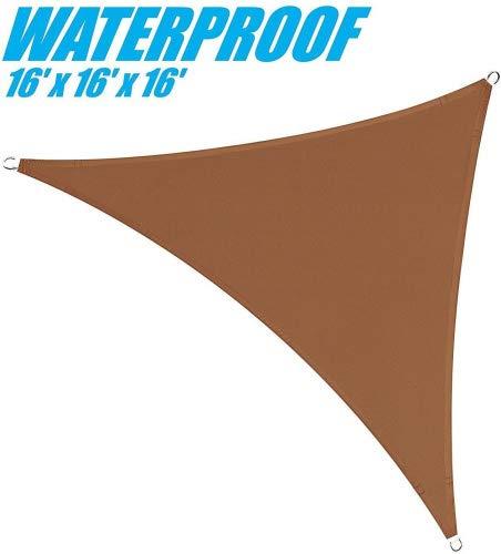 ColourTree Sonnensegel, 100% Blockage, wasserdicht, 4,6 x 4,6 m x 4,6 m, Dreieck, Coffee Brown –...