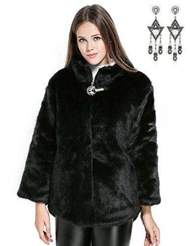 Semia donna cappotto lunghi di finta pelliccia ecologica manicotto svasato turtleneck imbottito cappotti caldo con fibbia di diamanti inverno,nero,small