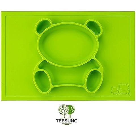teesung Happy Bear–Tappetino in silicone Placemat +–Ciotola Vassoio e tovaglietta in silicone per neonati, bambini, neonati e bambini