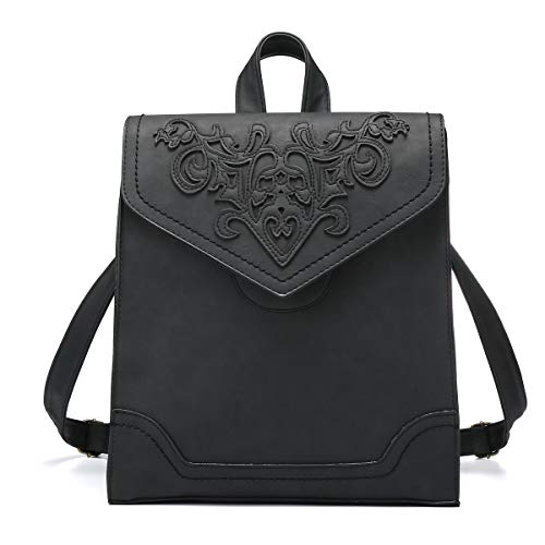 JOSEKO Frauen Stilvoller Rucksack, Schultertasche Umhängetasche Damen Flap Daypack Leicht Schulranzen Schwarz