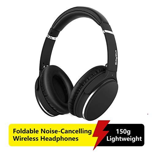 Noise Cancelling Kopfhörer Leichte,Srhythm NC25 Over Ear ANC Kopfhoerer Bluetooth Kabellos Faltbar mit 40 mm HD Tieftontöner,Eingebaut Mikro,HiFi,CVC6.0 für Alle Geräte mit Bluetooth (Matt-Schwarz)