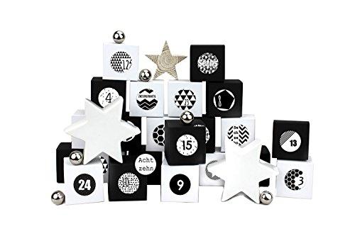 Papierdrachen 24 Adventskalender Kisten - mit Zahlenaufklebern zum selber Befüllen - 24 schwarz-weiße Schachteln zum Aufstellen und zum Befüllen - 24 Boxen