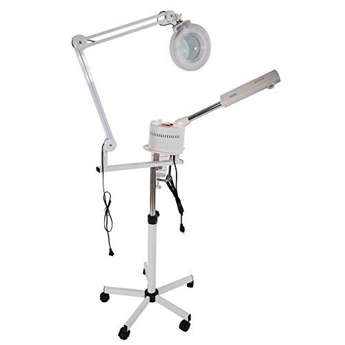 2 in 1 Gesicht Dampf Gesichtssauna 5x LED Lupenleuchte Lupenlampe Heiß Ozon Nebel Maschine Spa Salon Schönheit Haut Pflege Rollen Fußboden Stand Ausrüstung (Gesichts-ausrüstung)