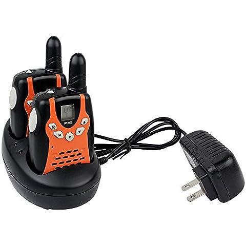 fetoo Walkie Talkie para niños PMR 4468canales VOX con batería y base de carga carcasa–Walkie-Talkie (2unidades, naranja)