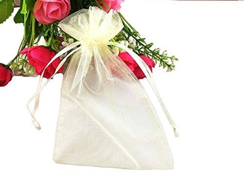 sumdirect 10010x 15cm Sheer Kordelzug Organza Schmuck Beutel Hochzeit Party Weihnachten Favor Geschenk Taschen beige (Party Favor 100)