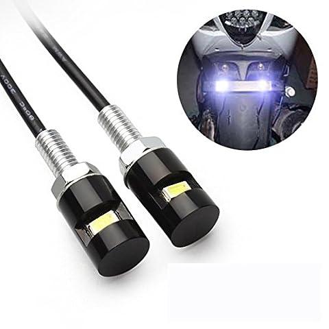 Auto-Licht - Kingwo 2pcs weiße LED SMD Motorrad u. Auto-Kfz-Kennzeichen-Schrauben-Bolzen-helle Lampenbirne 12V